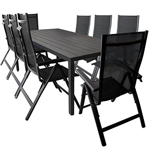 Multistore 2002 9-teilige Gartengarnitur Sitzgarnitur, Alu/Polywood Gartentisch 205x90cm + 8X Positionsstuhl mit 4x4 Textilenbespannung und Polywood Armlehnen - Schwarz