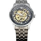 Shenhua lusso Gear case orologio da uomo in acciaio INOX argento scheletro orologi uomini Steampunk militare orologio meccanico
