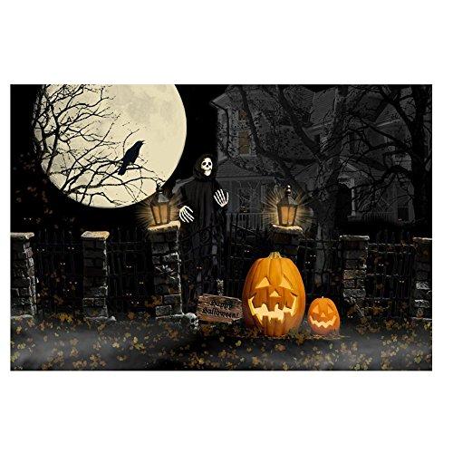 TOOGOO(R) 7 * 5ft Halloween Theme Fotografie Hintergruende Vollmond Kuerbis Schwarz Rabe Spuk-Haus Foto Hintergruende fuer Studio Requisiten
