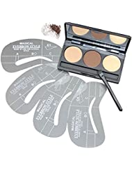VALUE MAKERS 3 Colour Makeup Eyebrow Powder Palette Kit 4 Eyebrow Stencils Template Kits Eyebrow Brush-Waterproof Eye Brow Powder Wax Palette-Beauty
