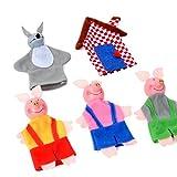 vovo SpielzeugVovotrade 5PCS Drei Kleine Schweine und Wolf Fingerpuppen Handpuppen Weihnachtsgeschenke für Kinder Kinder Spielen Lernen Story Toy (Mehrfarbig)
