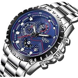 LIGE Hommes Montres Mode Etanche Acier Inoxydable Montres Bleu Hommes Sports Chronographe