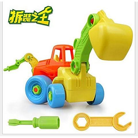 JZK® Scavatrice camion gioco giocattolo veicolo costruzione smontare e rimontare con viti e cacciavite plastica, regalo educativo per bambini (Scavatrice B)