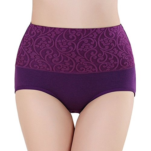 Meijunter 2Pcs Damen Hohe Taille Körperformung Unterwäsche Baumwolle Süßigkeit-Farben Girls Höschen Purple