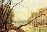 POSTERLOUNGE Acrylic print 180 x 120 cm: Bank of the Seine in Autumn by Alfred Sisley/akg-images
