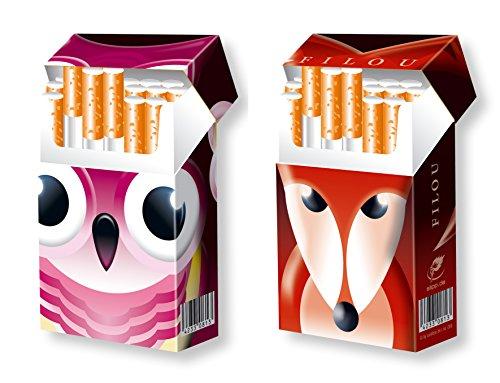 slipp overall - 2er SET - Motive EULE und FUCHS - Tiermotive - Zigarettenschachtel Überzieher Hülle Komplettetui für 20er / L-Schachteln aus Karton mit Deckel
