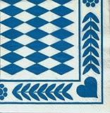 12901 - PAPSTAR - 20 Servietten, 3-lagig 1/4-Falz 33 cm x 33 cm 'Bayrisch Blau'