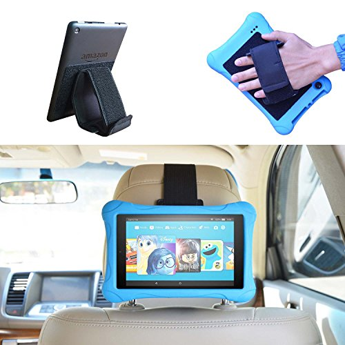 Universal KFZ-Kopfstützen Fire Tablet Halterung, 3 in 1 Auto-Kopfstütze Halterun & tablet Handschlaufe & Ständer für allen 6-11 Zoll Kindle Fire Tablets / eReader - Fire 7 (Previous Generation 1st) & Kindle Fire 7 / HD6 / HD 7 / HD X7 / HD X 8.9 / HD X9 & Fire 7 / HD 7 / HD 8 Kid Edition / Kindle Paperwhite / Voyage / Oasis