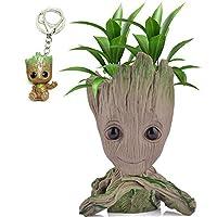 Udream Groot Plant Pot FlowerPot Cartoon Flowerpot Figures Cute Model, Groot Succulent Planter Cute Green Plants Flower Pot with Hole Pen Pot Best Gifts For Kids