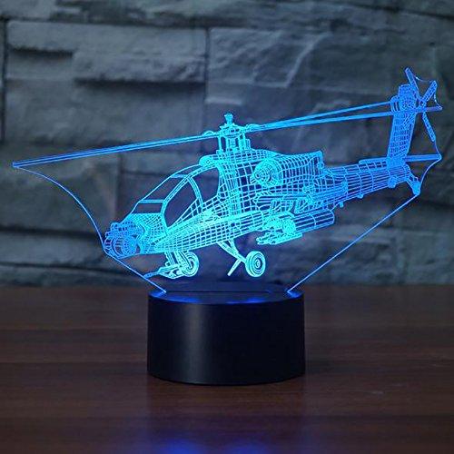 orangeww 3D Rakete LED Motorrad Form Nachtlicht All Terrain Vehicle Tischlampe USB LKW 7 Farben Hubschrauber Beleuchtung Kind Raumdekoration Festival Freund Kollege Geschenk Andenken (Led-a15-glühbirnen)