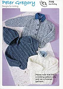 Knitting Pattern Child s Hooded Jacket : Aran Knitting Pattern for Childs Hooded Sweater Jackets 20 ...