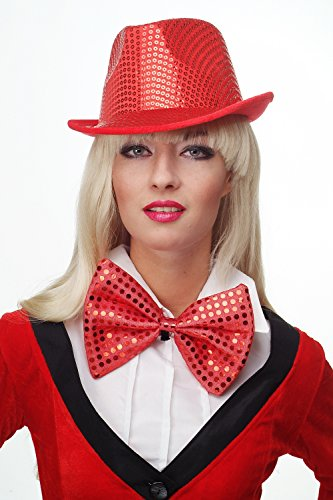 DRESS ME UP - Fliege Clownfliege Clown groß Bowtie rot Glitzer Pailletten Riesenfliege (Las Vegas Auf Halloween)