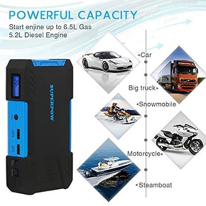 51PFiDBuBML. SS416  - Superpow 800A Batería Arrancador de Coche, Jump Starter Portátil QC 3.0 para Emergencia con Pinzas Inteligentes, LED, USB Puertos (Para vehículo hasta 5.2L de Diesel o 6.5L de Gasolina)