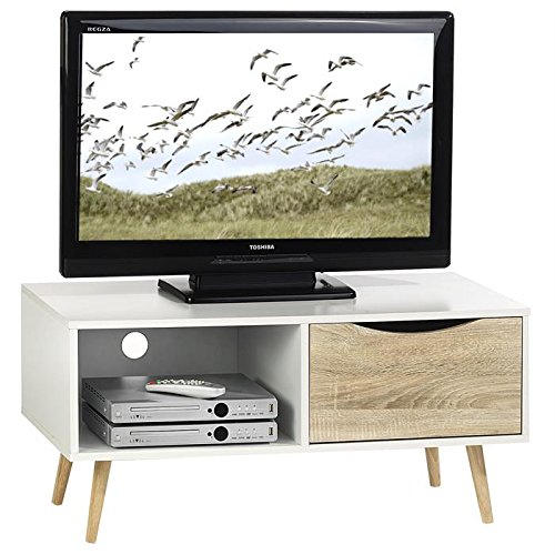 IDIMEX Meuble TV étagère et tiroir Imperia, MDF décor Blanc chêne Sonoma