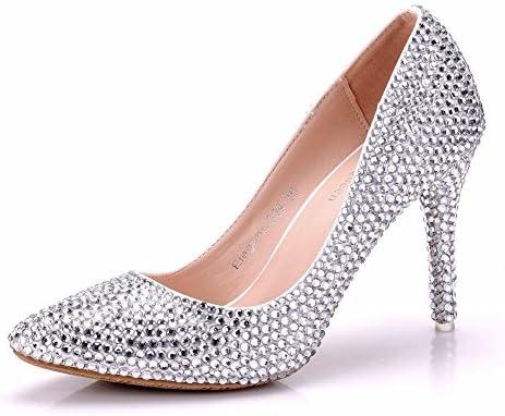 NVXIE Mujer Señoras Boda Nupcial Corte Zapatos Superficial Puntiagudo Dedo del pie Cristal Rhinestones Alto Talones...