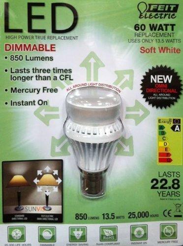 Feit Energiesparlampe 60Watt Luminus Kronleuchter Dimmbare LED Glühbirne (Feit Glühbirnen)