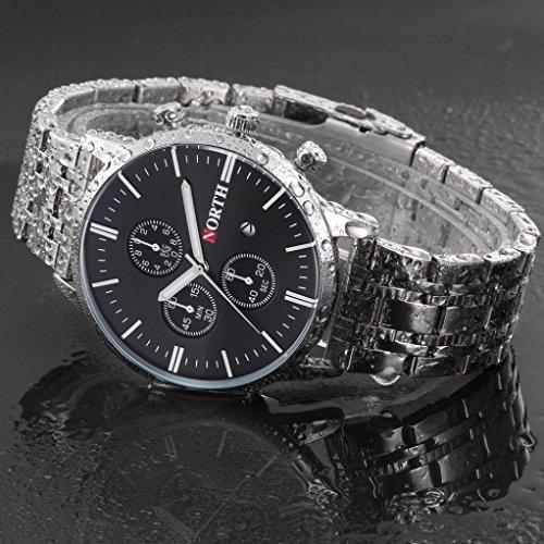 Preisvergleich Produktbild Sansee Kalender Quarz Armbanduhr Edelstahl Armband Herren Uhr-NORTH Männer 's dritten Grad wasserdichte Silber Streifen Quarzuhr N - 6010 (Schwarz)