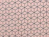 Stoff | Dekostoff | Ottoman | Geometrische Würfel, altrosa | Meterware ab 0,5 m | Stoffe Hemmers