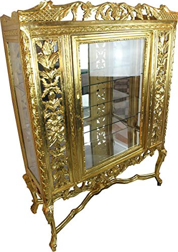 Casa Padrino Barock Glas Vitrine Gold H155 x 116 x 41.5 cm Barockvitrine Vitrinenschrank Möbel