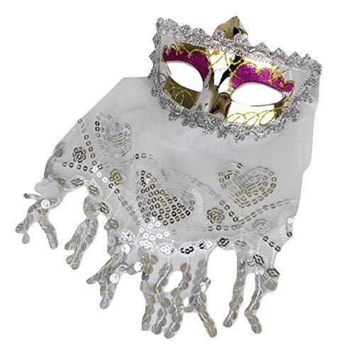 Piccoli monelli mascherina veneziana donna sexy in argento maschera carnevale venezia con velo in pizzo