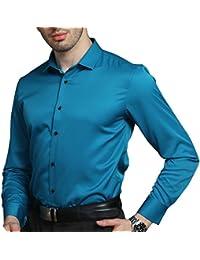 KelaSip Camisa para Hombres Transpirable Manga Larga Color Sólido para Hombres Slim Fit Formales/Casual Camisas Negocios Clásico… cJJxVYK7