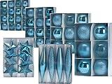 Baumschmuck Christbaumkugeln Kunststoff Set 55-tlg. Icy Blue