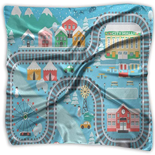 quare Scarves Bandana Scarf, Lovely City In The Winter Train Track Activity In Cartoon Drawing Style,Womens Neck Head Set ()