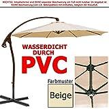 habeig WASSERDICHT Luxus Ampelschirm 3m Beige durch PVC Schirm 300cm Sonnenschirm