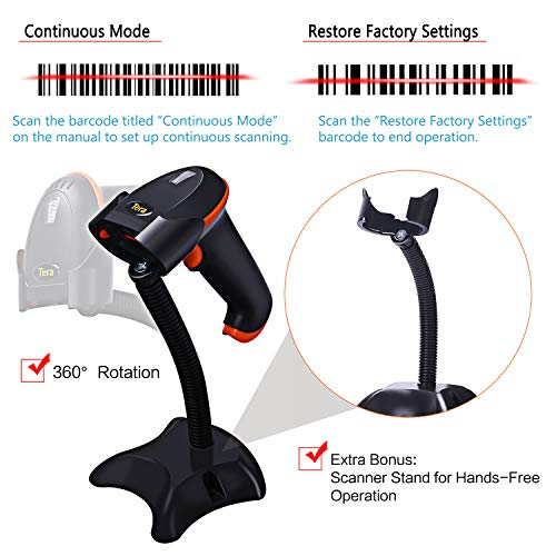 Tera Lettore Codice a Barre (Cavo Wireless 2.4Ghz + USB 2.0) Barcode Scanner Wireless 32 Bit con Supporto