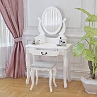 Panana White Dressing Table With Stool,Make Up Desk with Adjustable Mirror & Stool & 3 Drawer