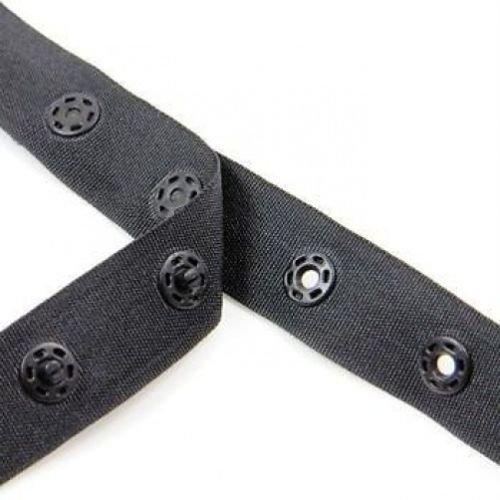 Schwarz Druckknopfverschluss Band für Baby-Jumpsuits und Kleinkind Kleidung–Druckknopf Klebeband für Nähen Kleine Kleidungsstücke–Snap Tasten auf Stoff Band, schwarz, 10 m (Leder-band-boot)