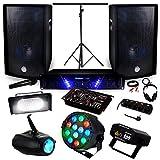 Pack Sono Ampli AMP-300 + HP BMS-12 de 2x600W + Pack 4 lumières