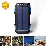 Chargeur solaire 25000mAh Elzle Portable solaire Power Bank résistant aux chocs Sortie protégé contre la poussière, chargeur de batterie solaire extérieur chargeur de téléphone solaire chargeur batterie externe téléphone avec lumières LED puissante pour iPad iPhone Android Samsung Sony
