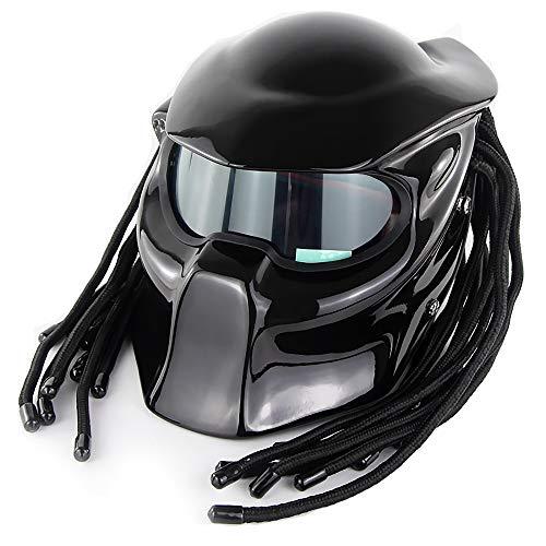 Luciscite Predator Motorradhelm DOT genehmigt Personalisierter Unisex Vollgesichtshelm Science-Fiction-Filmfigur Cosplay-Maskenhelm,M