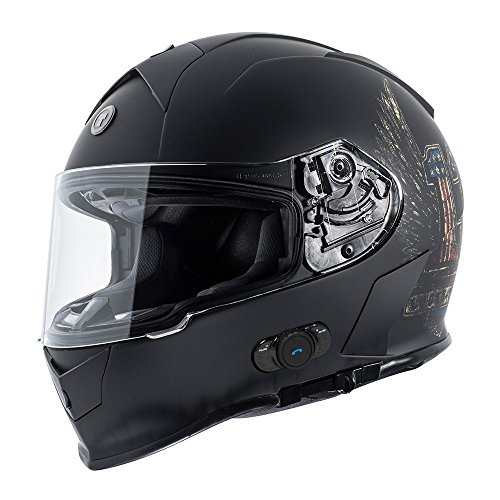 TORC T14B Blinc - Casco de motocicleta integrado, Bluetooth, con gráf