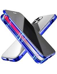 Suhctup Compatible con iPhone 12 Funda de Magnética Anti-pío Carcasa 360 Grados Protección Doble Cara Transparent Vidrio Templado Marco Aluminio Antigolpes Caso-Azul