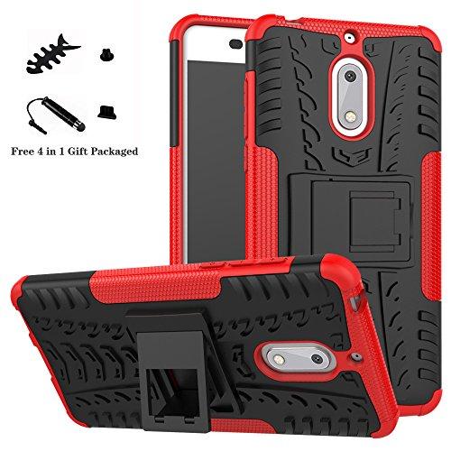 LiuShan Nokia 6 Coque, Shockproof Robuste Impact Armure Hybride Béquille Housse Coque Étui Couverture pour Nokia 6 Smartphone (4 en 1 Cadeau emballé),Rouge