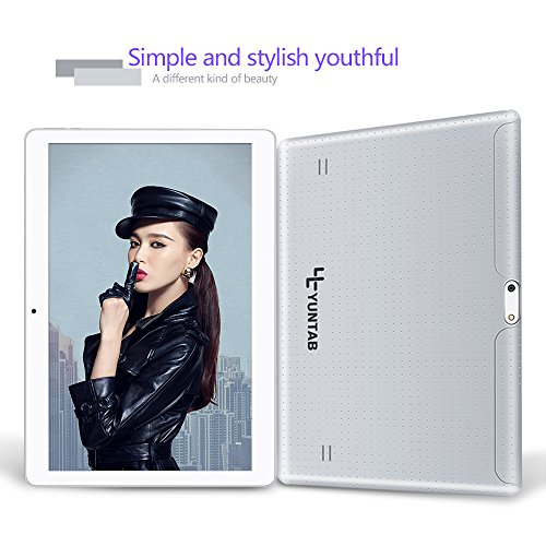 YUNTAB Tablet 10.1 Zoll Tablet Pc – 3G – Android 5.1 Lollipop – QUAD CORE-Telefonieren – GPS- Navigation – 1GB RAM – 16GB – Dual Kamera( Real Kamera 2 Mps) – Battery 5000 mhA – Bluetooth 4.0 (MSilber) - 3