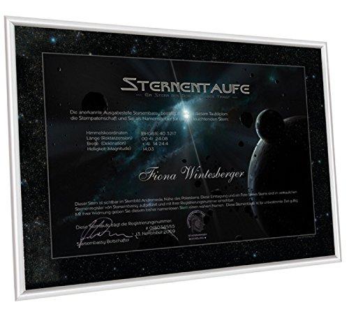 Sterntaufe mit Aluminium-Rahmen - Taufen Sie einen Stern - ein Sternchen nach Ihrem Name benennen