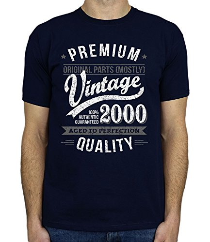 2000 Vintage Year - Aged To Perfection - 18 Ans Anniversaire T-Shirt pour Homme Marine Bleu XL