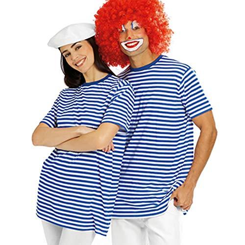 Ringel Shirt Party-Outfit für Sie und Ihn Ideal für Ihr Kostüm als Matrose, Clown oder Pirat (S, Blau-Weiß)