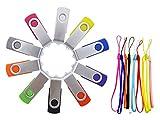 FEBNISCTE 10 Pack 8GB USB2.0 Flash Drive Swivel Multi-Coloured Memory Stick