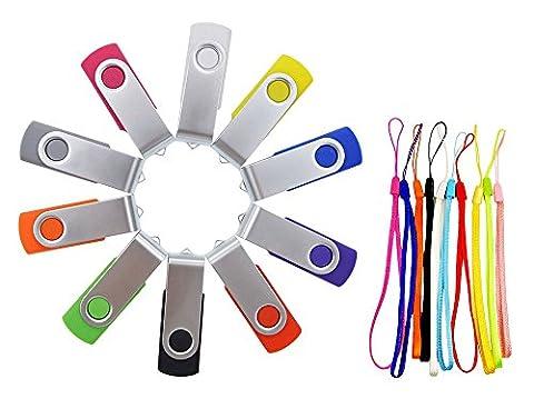 FEBNISCTE 10pcs 1GB USB 2.0 Pen Drive - 10 Color Assorted Memory Stick