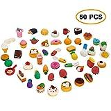 ThinkMax Tier- und Lebensmittel-Radiergummis, niedliche Gummi-Radiergummis, Bunte Mitbringsel-Taschenfüller Kinder (50 Stück Lebensmittel)