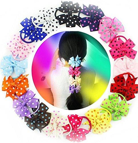 Haargummis mit Schleifen, 8,9cm, für Mädchen, mit elastischem Gummiband und gepunkteter Schleife (Wo F , Gehen, Zu)