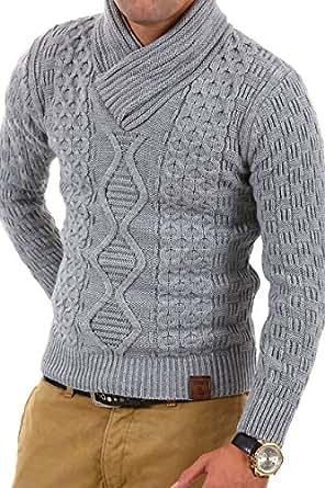 Tazzio pull en tricot avec col châle chandail 3500 - Gris - Taille : L