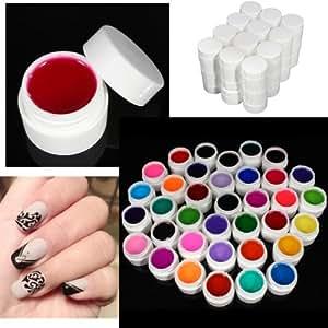 Kit 36 Couleurs Couverture UV Gel Pure Ongle Manucure Acrylique Nail Art Decor