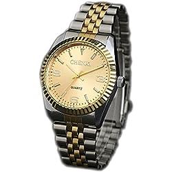 ufengke® luxury gentlemen gold silver steel band wrist watch,luminous watch for men-gold