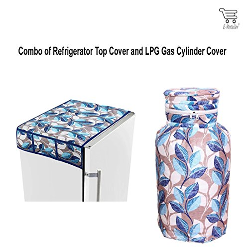 E-Retailer Combo of Refrigerator Top Cover (with 6 Utility Pockets) and Cylinder Cover (Color:- Blue, Quilted Cotton Material)
