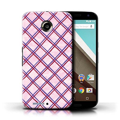 Kobalt® Imprimé Etui / Coque pour Motorola Nexus 6 / Vert/Bleu conception / Série Motif Entrecroisé Violet/Rouge
